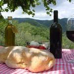 pane,vino e olio sotto il pergolato
